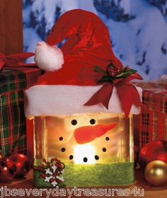 Lighted Glass Snowman Tabletop Shelf Buffet Table Decoration Christmas Holiday