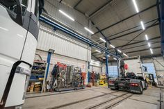 One of Luxon LED modernizations is the illumination of the workshop of Volvo Trucks, a well-known car brand. As part of the implementation, the luminaires were also changed in the external area. Volvo Trucks, Garage Shop, Case Study, Workshop, Led, Lighting, Automobile Repair Shop, Trucks, Light Fixture