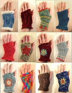 Maybe I can take the crochet squares my mom made (yesteryear) and turn them into. Maybe I can take the crochet squares my mom made (yesteryear) and turn them into these? Fingerless Gloves Crochet Pattern, Crochet Gloves Pattern, Fingerless Mitts, Knitted Gloves, Crochet Slippers, Crochet Patterns, Knitting Patterns, Crochet Scarves, Crochet Clothes