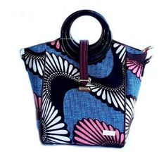 African Bag, African Print Top Handle Tote  Blue - Zabba Designs African Clothing Store