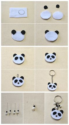 Beebeecraft tutorials on making black and white panda felt keychain Felt Crafts Diy, Bee Crafts, Foam Crafts, Felt Diy, Sewing Crafts, Crafts For Kids, Arts And Crafts, Panda Themed Party, Panda Party