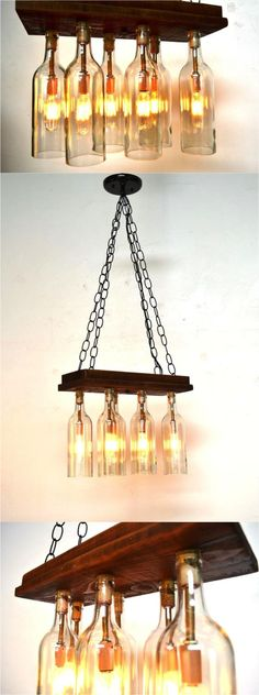 Recycled ancient barn wood carefully mounted to retired wine bottles | Made on Hatch.co