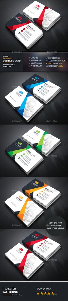 Corporate Business Card Design - Business Cards Template PSD. Download here: https://graphicriver.net/item/corporate-business-card/16939438?s_rank=180&ref=yinkira