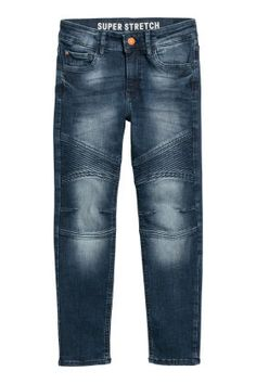 Slim-fit biker jeans in washed superstretch flexible denim for maximum freedom of movement. Adjustable elasticized waistband zip fly with button and front and back pockets. Legs with decorative stitching and slim hems. Dark Denim, Blue Denim, Biker Jeans, Skinny Fit, Kids Fashion, Hoodies, Fitness, Pants, Outfits