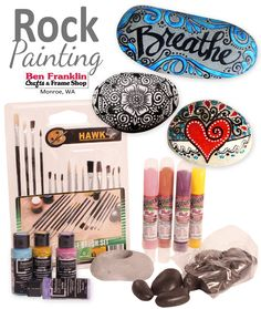 ROCK PAINTING has grown in popularity this past year. Why not join the trend! We have all the supplies you'll need to get started!  See our current sale for limited-time offer on supplies: http://www.bfranklincrafts.com/National-Craft-Month-SALE.pdf - Ben Franklin Crafts and Frame Shop, Monroe, WA