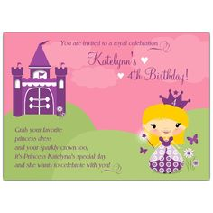 Princess Blonde Kids Invitations