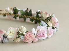 Pink Flower Crown - Paper flower headpiece - Made of mulberry paper and natural twine