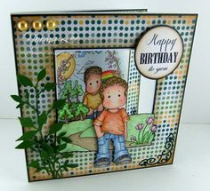 'All About Boys' window card using Magnolia stamps from Magnolia-licous by Norma Lee of From My Craft Room. / http://www.magnoliastamps.us/ / #crafts #cards