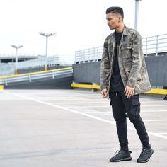 Camouflage Overcoat and Ribbed Cargo Jog Pant on @blvckmvnivc