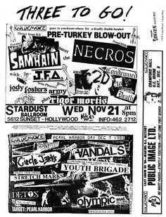 Old Punk Rock Flyer - 1984 - Southern California