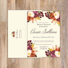 Rustic Vintage Flowers Invitation Set of 20 by cwdesigns2010 on etsy