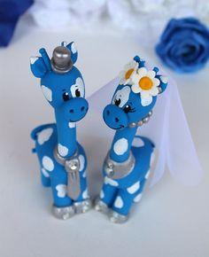 Giraffe custom cake topper for wedding  Blue and by PerlillaPets