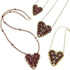 Free crystal beaded heart pendant and necklace by Deb Roberti Beading Patterns Free, Beaded Jewelry Patterns, Heart Patterns, Bracelet Patterns, Free Pattern, Weaving Patterns, Beaded Necklace, Beaded Bracelets, Necklaces