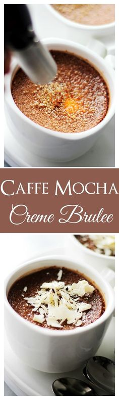 Caffe Mocha Creme Brulee - this amazing creme brulee is like your Starbucks Caffe Mocha, but in dessert form! Fancy Desserts, Köstliche Desserts, Pudding Desserts, Sweet Desserts, Chocolate Desserts, Sweet Recipes, Dessert Recipes, Chocolate Creme Brulee, Best Chocolate