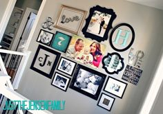 Photo wall- I like the mix of color with black and white