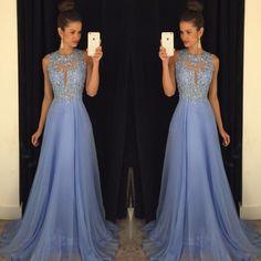 Moda azul vestidos de noche largos 2017 o cuello apliques de encaje gasa moldeada mujeres desfile vestido de fiesta formal vestido festa