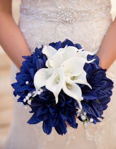 Navy Blue Dahlias and white Real Touch calla lilies by WeddingDesigns2Love.etsy.com