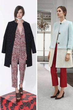 The collarless coat feels unique and better yet, utterly feminine - that pre-fall Chloe one on the right!
