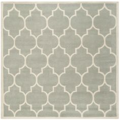 Safavieh Handmade Moroccan Grey Floor Wool Rug (7' Square) (CHT733E-7SQ), Size 7' x 7' (Cotton, Geometric)