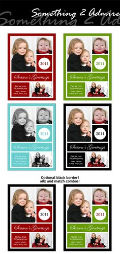 "Christmas Photo Card, Holiday Season, 1, 2, 3 images, ""Sophisticated"" Collection, black, blue, green, red, Templates for Photograph"