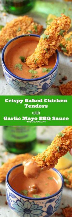 Crispy Baked Chicken Tenders with Garlic Mayo BBQ Sauce