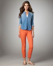Coral skinny jeans & a chambray top = my spring weekend uniform