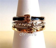 Belt Buckle Ring Enamel Crystal Thin Stackable Silver Rose Gold Plated Western #Unbranded #Band