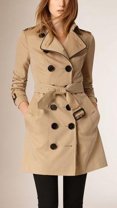 Chain Trim Cotton Gabardine Trench Coat