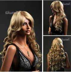 SureWells Chinese New Year On Sale 10% off Halloween on sale New Products 10% Off High-end European And American Style Golden Wavy Long Wigs For Women And Ladies Lace Wigs Human Hair Wig Front Lace Wigs