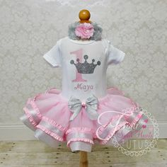 Princess First Birthday Outfit Pink Girls by FourSweetHeartsTutus