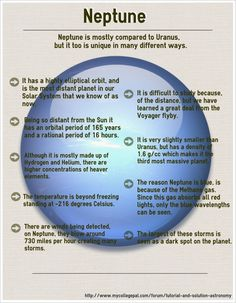 Space And Astronomy Neptune. metallic oceans with diamond icebergs? Astronomy Facts, Astronomy Science, Space And Astronomy, Earth Science, Science And Nature, Solar System Projects, Our Solar System, Cosmos, Neptune Project