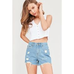BDG Girlfriend High-Rise Denim Short ($49) ❤ liked on Polyvore featuring shorts, denim short shorts, high rise jean shorts, denim shorts, high-waisted jean shorts and high-waisted shorts