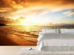 Bedroom Design with Sunset Beach Wall Mural