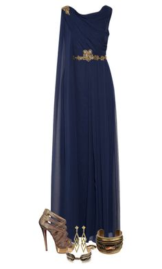 """Ravenclaw Graduation"" by elli-jane-xox ❤ liked on Polyvore featuring Notte by Marchesa, Christian Louboutin, DANNIJO, Pamela Love and Auden"