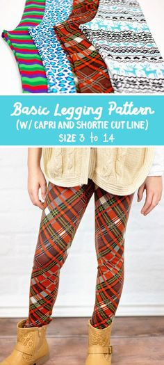 I've got a new free pdf pattern for you today! A free basic legging pattern for girls, in sizes 3 to Free Leggings, Basic Leggings, Patterned Leggings, Tops For Leggings, Leggings Sale, Printed Leggings, Tribal Leggings, Black Leggings, Tunic Sewing Patterns
