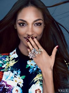 """You cannot go wrong with a bright color palette, especially when it comes to jewelry,"" says model Jourdan Dunn, the newly named Parent Ambassador for the Sickle Cell Disease Association of America. She'll wear these pastel-colored rings by David Morris to the UNICEF Snowflake Ball at Cipriani Wall Street. David Morris pink–and–white diamond palm-leaf and butterfly double rings; davidmorris.com. Versace top."