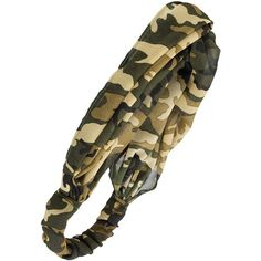 Camo headwrap ($6) ❤ liked on Polyvore featuring accessories, hair accessories, hair bands accessories, hair band headband, headband hair accessories, wide headbands and head wrap hair accessories