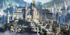 Royal Palace by Adam Isailovic : ImaginaryCastles Fantasy City, Fantasy Castle, Fantasy Places, Sci Fi Fantasy, Fantasy World, Dark Fantasy, Medieval Fantasy, Environment Painting, Environment Concept Art