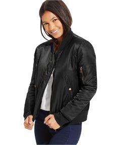 Joe & Elle Juniors' Zipper-Front Bomber Jacket - Juniors Jackets & Vests - Macy's