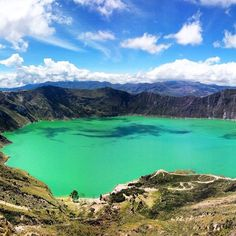 View from the top of the #Quilotoa volcano. Over 12,000 feet above sea level . The goal: hike down to the lagoon and hike back up extremely steep slope under the afternoon sun in time for lunch! ______________________________________  Thank you EcuaTraveling.com for the adventure of a lifetime! ______________________________________