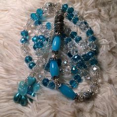Turquoise with clear beads prayer beads, 99 prayer beads with silver  on Etsy, $18.99
