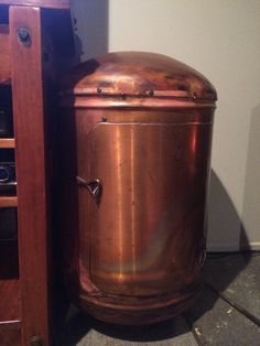 Recycled hot water cylinder wood box