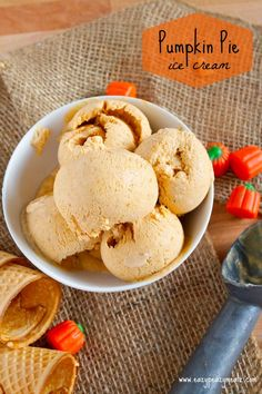 Pumpkin Pie Ice Cream - a refreshing treat that tastes amazing by itself, or on top of a slice of pie!