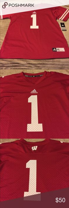NEW UW BADGER SHIRT NWT red & white jersey.  May fit a large frame.  100% polyester.  Smoke-free home 🏡 adidas Shirts