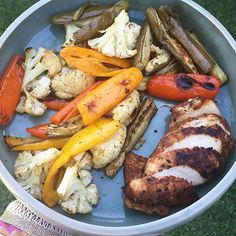 https://www.instagram.com/p/_72WmHTfUY/ Tagged by the lovely @healthy_kelsey to do a #whatsonmyplate so here it goes! Seared chicken, roasted cauliflower, eggplant and peppers. So so delicious.