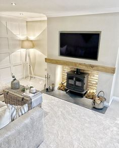 Feature Wall Living Room, Living Room Lounge, New Living Room, Living Room Decor, Log Burner Living Room, Home Fireplace, Fireplaces, Fireplace Beam, Cheap Dorm Decor