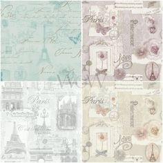 £7.99 GBP - Paris Postcard Eiffel Tower Wallpaper Metallic - Pink Silver Grey Duck Egg #ebay #Home & Garden