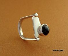 Anel em prata 950, Black star-AnBlaAg008
