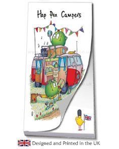 Campervan gifts, motorhome gifts · Campervan Gift - Hap-Pea Campers Red Campervan Jotter Pad, £2.95 (http