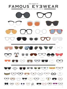 popchartlab: A meticulously illustrated eye chart of famous eyewear featuring 73 iconic frames from history, film, music, fashion and culture.Get The Chart of Famous Eyewear now! Mode Chic, Mode Style, Together Fashion, Fashion Infographic, Lunette Style, Eye Chart, Fashion Vocabulary, Cheap Ray Ban Sunglasses, Sunglasses Outlet